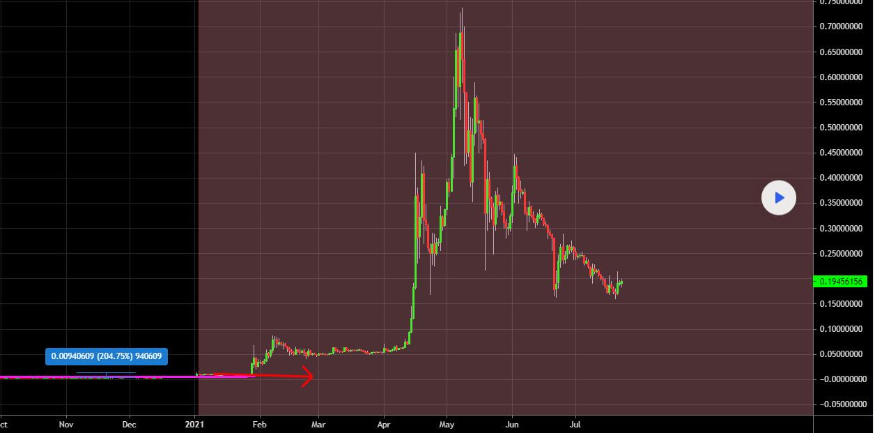Ví dụ về việc FOMO giá DogeCoin 2021